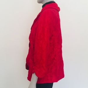 Chico's open jacket red crinkle Valentine's Day 2